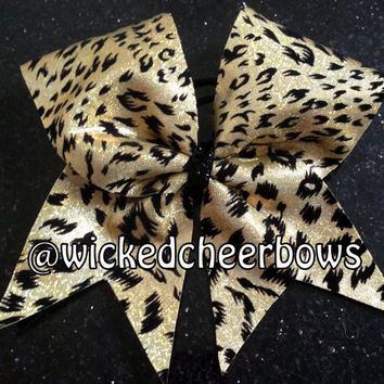 Cheer Bow - Holographic Gold & Black Cheetah