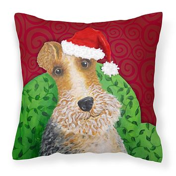 Wire Fox Terrier Christmas Fabric Decorative Pillow VHA3040PW1414