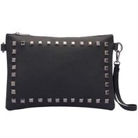 Black Rivet PU Shoulder Bag -SheIn(Sheinside)