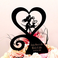 Jack and Sally Heart Custom Engraved Wedding Cake Topper