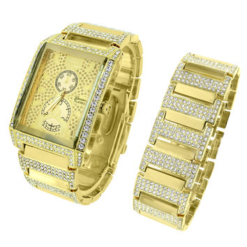 Hip Hop Mens Iced Out Watch Rectangle Face Rapper 14k Gold Tone Bracelet 38mm