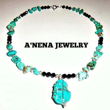 "Necklace Genuine Faceted Azabache, Turquoise and Howlite, 925 Sterling Silver  ""Freedom"""