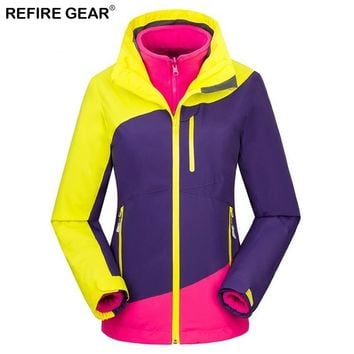 Refire Gear Women's Winter Softshell Fleece Jackets Outdoor Sportswear Hiking Trekking Camping Skiing Female Windbreaker