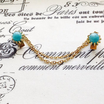 Lovely Vintage gold tone with turquoise stone  sweater guard or sweater clips-thermostat