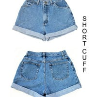Custom High Waisted Rolled Up Cuff Jean shorts