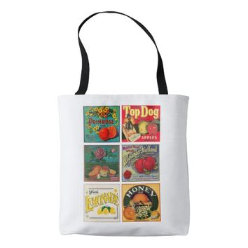 Vintage fruit company advertisements tote