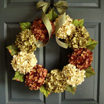 Summer and Fall Door Wreath - Hydrangea Fall Wreath - Autumn Wreath - Fall Front Porch Decor