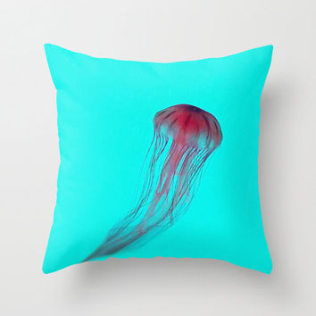 Fuschia Pink Jellyfish on Aqua Blue Green - Throw Pillow Cover -