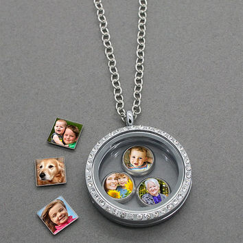 Custom Made With Your Photo! 6 Pack Mini Photo Charm For Your Floating Locket! Includes 3 Squares and 3 Circles w/ Your Choice of Photos!