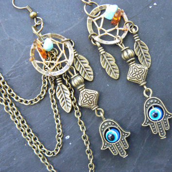 evil eye dreamcatcher chained ear cuff SET turquoise and amber