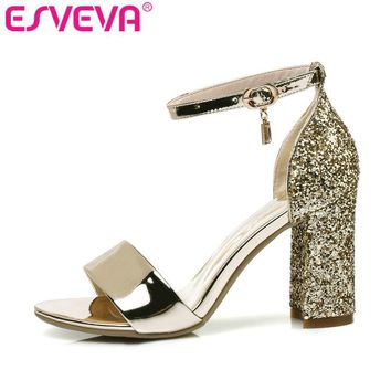 ESVEVA 2017 Bling Party Summer Shoes PU Women Sandals Square High Heel Sandals Rhinestone Peep Toe Wedding Shoes Plus Size 34-43