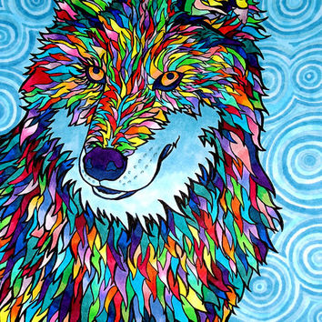 Wolfadellic Print (Copic Marker Wolf in Neon Rainbow Psychedelic Ink)