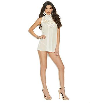 Mesh Mock Neck Babydoll W/button Neck Closure & Mesh G-string Ivory