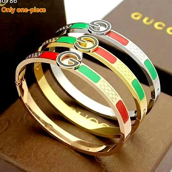 GUCCI new street fashion classic red and green striped women's wild bracelet