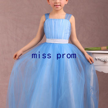 Strapless with sheer straps tulle with sash flower girl dress