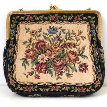 Vintage Needlepoint Purse with Gold Tone Frame and Chain - Gorgeous Vintage Tapestry Hand Bag / Petit Point Purse