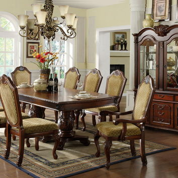 Furniture of america CM3005T 7 pc. napa valley in a dark cherry wood finish elegant formal dining set with an expandable top