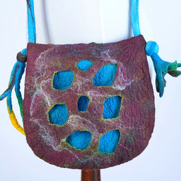 Lovely, designer shoulder bag in turquoise and brown - double layer, 3D felted purse with lush flower - floral, fiber art bag [T30]