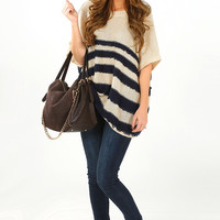 Let It Go Sweater: Navy/Taupe