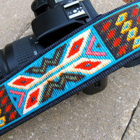 Funky Straps--DSLR Camera Straps--Spirit of the West ...camera accessory for Canon, Nikon, Olympus with real leather ends
