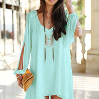 Sapphire Chiffon Leisure Mini Skater Jersey Dress