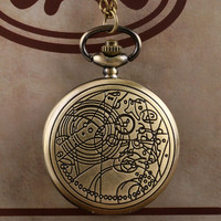 Bronze Doctor Who Style Fashion  Quartz Pocket Watch Best Gift