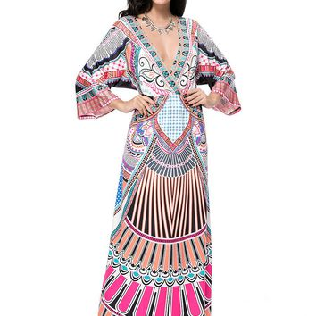 Streetstyle  Casual Deep V-Neck Tribal Printed Kimono Sleeve Maxi Dress