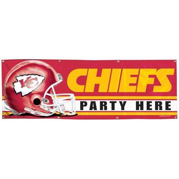 KANSAS CITY CHIEFS PARTY HERE 2'X6' INDOOR OUTDOOR VINYL BANNER NEW WINCRAFT