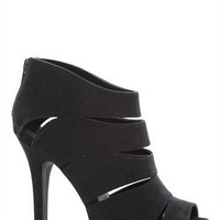 Suede Platform Bootie with Cutouts and Zip Up Back