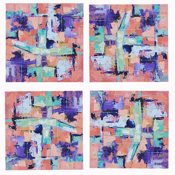 Original abstract oil painting, 'Deconstruction' Abstract in Pinks and Purple, Oil Palette Knife Painting, wall decor 6x6inch