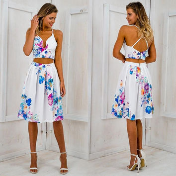 ♡ Foral Print Party Sexy Two piece High Waist Dresses ♡