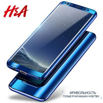 H&A 360 Degree Full Body Protection Case For Samsung S8 S8 Plus S7 Plating Mirror Case For Samsung Galaxy Note 8 S7 Edge Cover