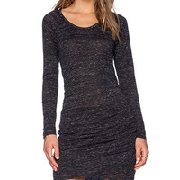Bella Luxx Marble Raglan Tulip Dress in Charcoal