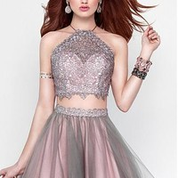 Buy discount Unique Lace & Tulle Halter Neckline A-Line Two-piece Homecoming Dresses With Beads at Dressilyme.com