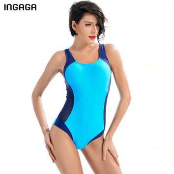 INGAGA One Piece Swimsuit Sports Swimwear Women 2019 Swimming Suits Competition Bathing Suits Patchwork Bodysuits