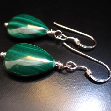 Malachite Earrings, Genuine Malachite Teardrop Stones, Sterling Silver Malachite Silver Earrings, Malachite Jewelry, Pumpkin Beads Jewelry