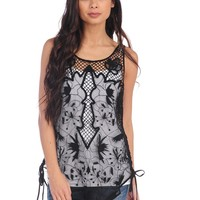 Vintage Havana Embroidered Mesh Net Tank - Black