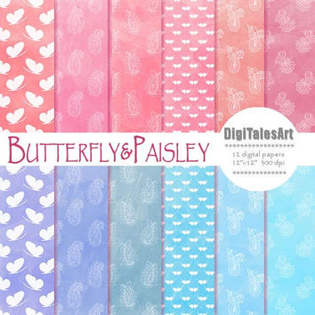 "Paisley digital paper ""Butterfly&Paisley"" digital clip art papers in pink, blue, ornament, watercolor background"