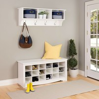 White Shoe Rack With Cubicle Storage And Bench