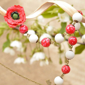 Beautiful handmade designer beaded necklace with plastic flower red and white