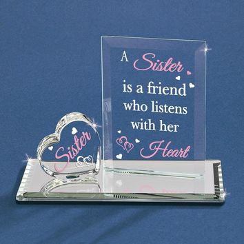 A Sister Listens with Her Heart Glass Figurine - Perfect Sister Gift