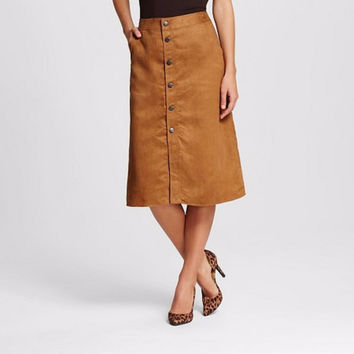 Mossimo Women's Faux Suede Button Front Skirt, Brown, 8