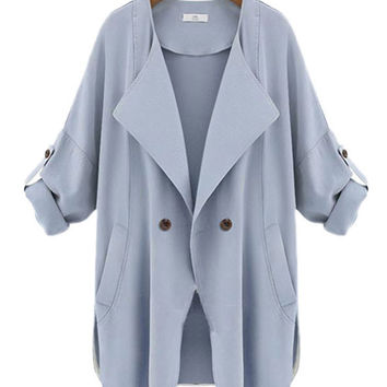 Fold Collar Roll Up Sleeve Lapel Coat