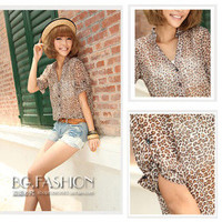 Sz S M L XL Chic Womens Lady Leopard Print Button Down Shirts Chiffon Blouse Top