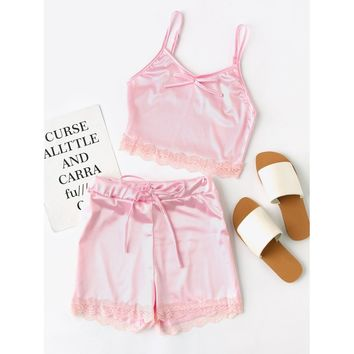 Pink Satin Scallop Lace Trim Cami Pajama Set