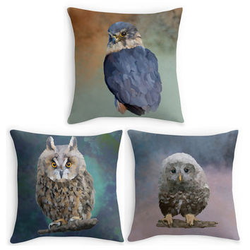 Owl, Bird of Prey Throw Pillow, Bird Scatter Cushion, 16x16, Pillow, Fine Art Cushion Cover, Bird Lover Gift