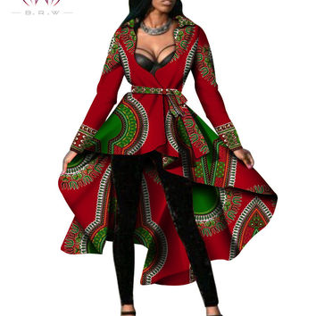 African Clothing Dashiki Trench Coat Style Long Sleeve Long Skirt Outwear