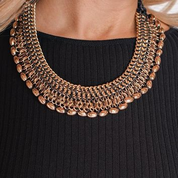 Hera Woven Rope Detail Statement Necklace (Black)