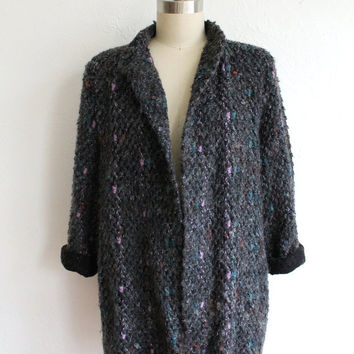 Vintage 80s Gray Nubby Speckled Knit Sweater Duster // Open Cardigan