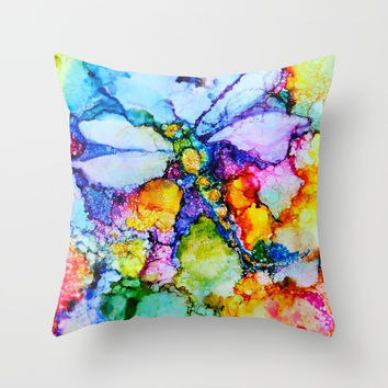 Dragonfly Throw Pillow by Debi Starr